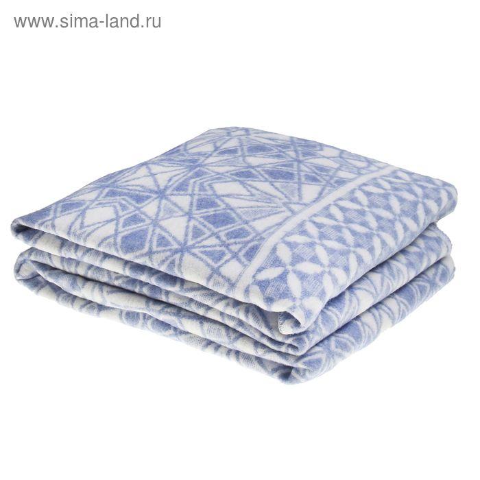 Одеяло байковое, цвет голубой, жаккард, размер 212х150 см, 470 г/м2, принт микс