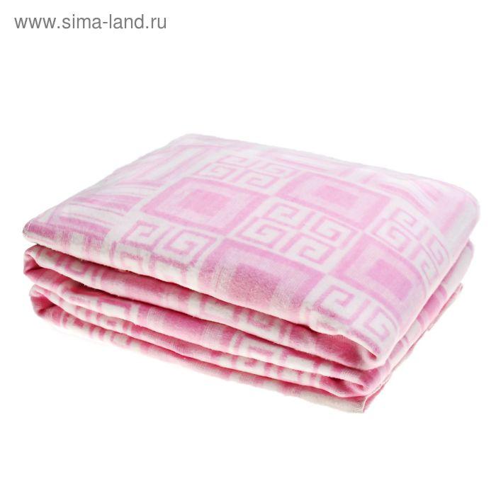 Одеяло байковое хлопчатобумажное, цвет розовый, жаккард, размер 212х150 см, 470 г/м2, принт микс