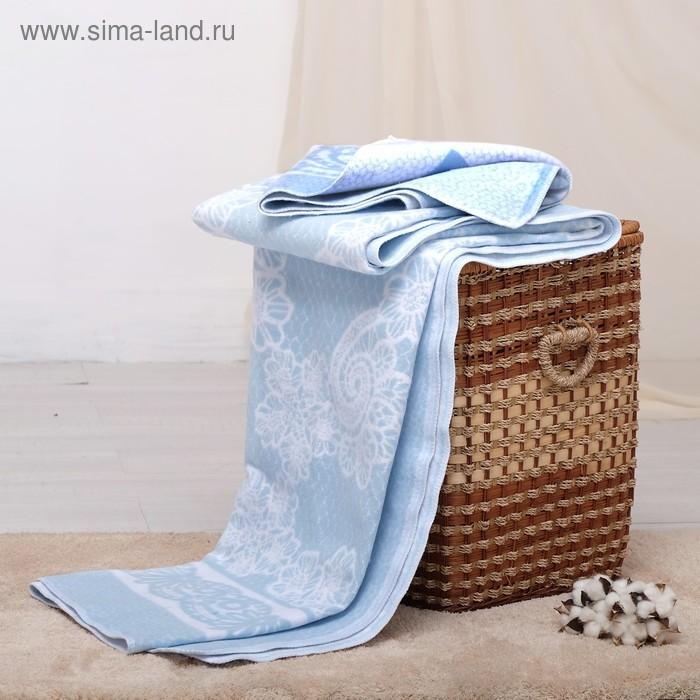 Одеяло байковое хлопчатобумажное, цвет голубой, жаккард, размер 212х150 см, 470 г/м2, принт микс