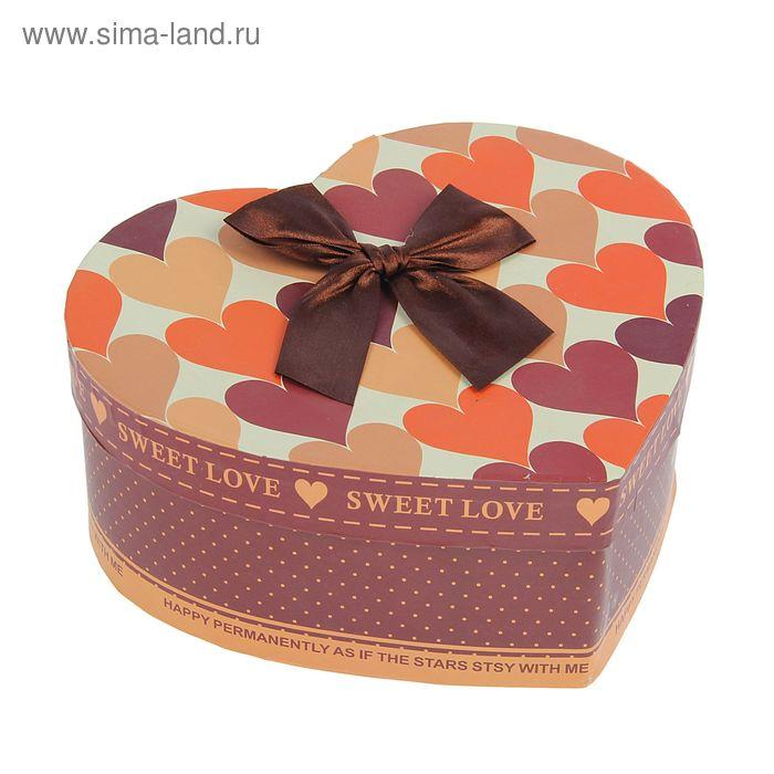"""Коробка подарочная""""Сердца"""" (22,5*21*9,2см), оранжевый"""