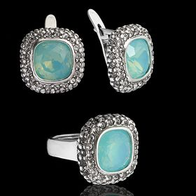 """Гарнитур 2 предмета: серьги, кольцо """"Рашель"""", размер 17, цвет молочно-зеленый в чёрном серебре"""