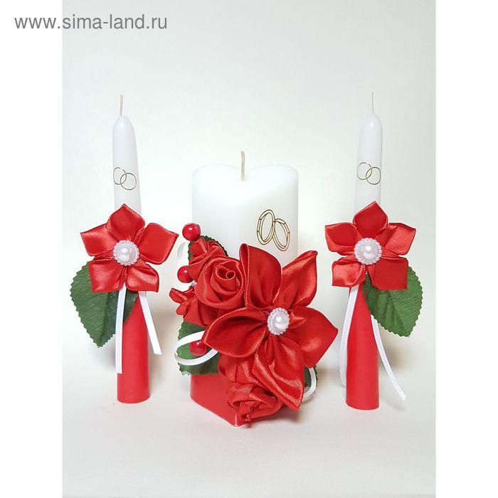 """Набор свечей """"Атласный люкс"""", красный : Домашний очаг 6.8х15см, Родительские свечи 1.8х17.5см   1624"""