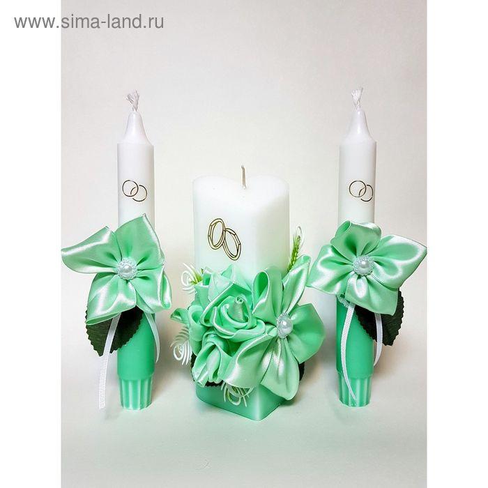 """Набор свечей """"Атласный люкс"""", цвет мяты : Домашний очаг 6.8х15см, Родительские свечи 1.8х17.5см   16"""