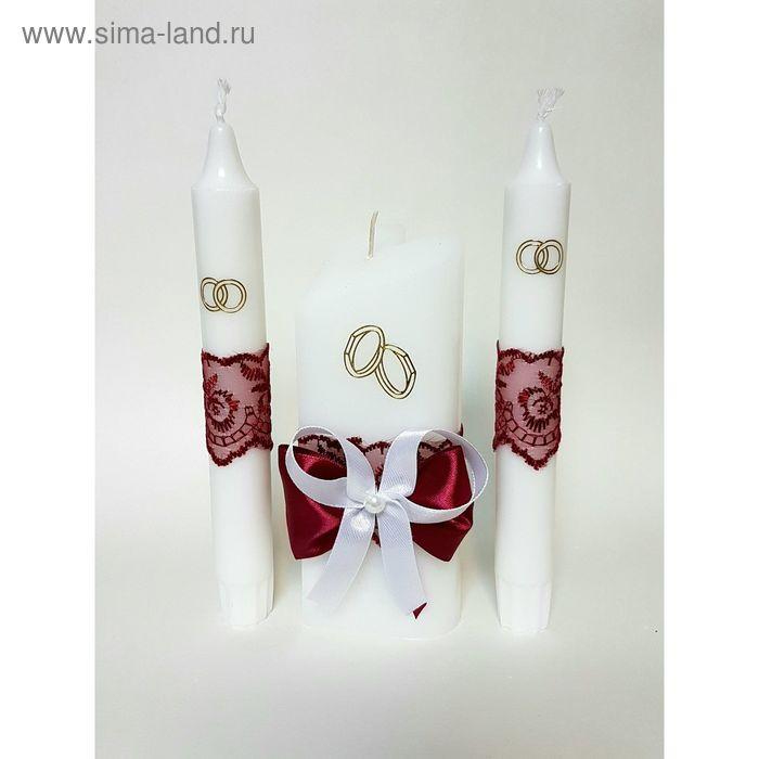 """Набор свечей """"Кружевной"""", рубиновый: Домашний очаг 6.8х15см, Родительские свечи 1.8х17.5см"""