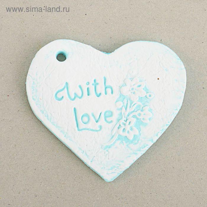 """Шильдик """"Сердце Шебби"""" голубое, 5 х 6 см"""
