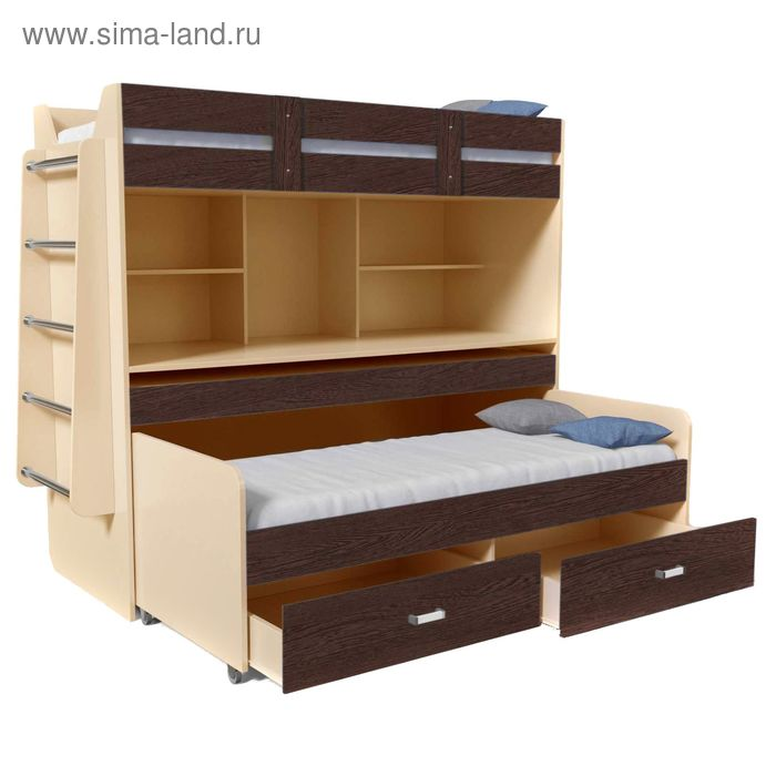 Кровать 2х ярусная № 2 1900х750х1700 Дуб молочный/Венге