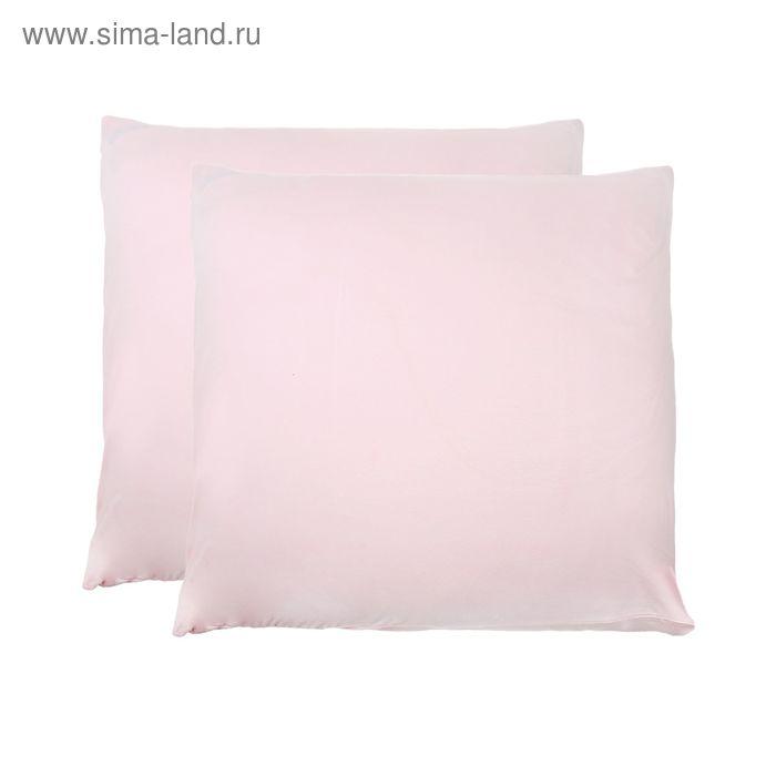 Наволочки трикотажные на молнии, размер 50х70 см-2 шт., цвет розовый