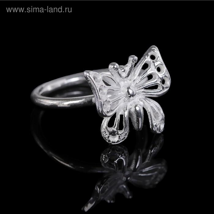 """Кольцо """"Бабочка"""", размер 15, цвет серебро"""