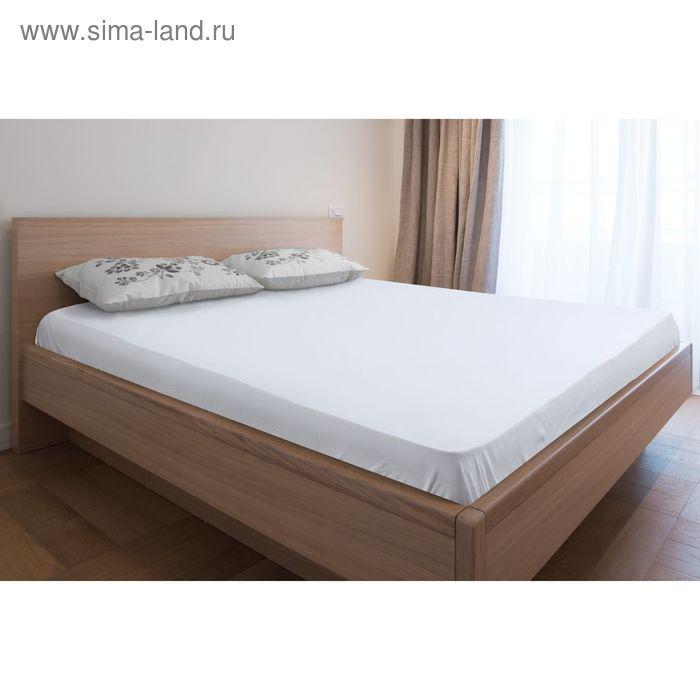 Простыня трикотажная на резинке белая, размер 90х200/20 см