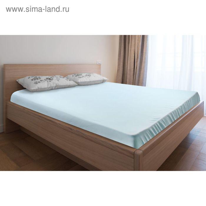Простыня трикотажная на резинке голубая, размер 180х200/20 см