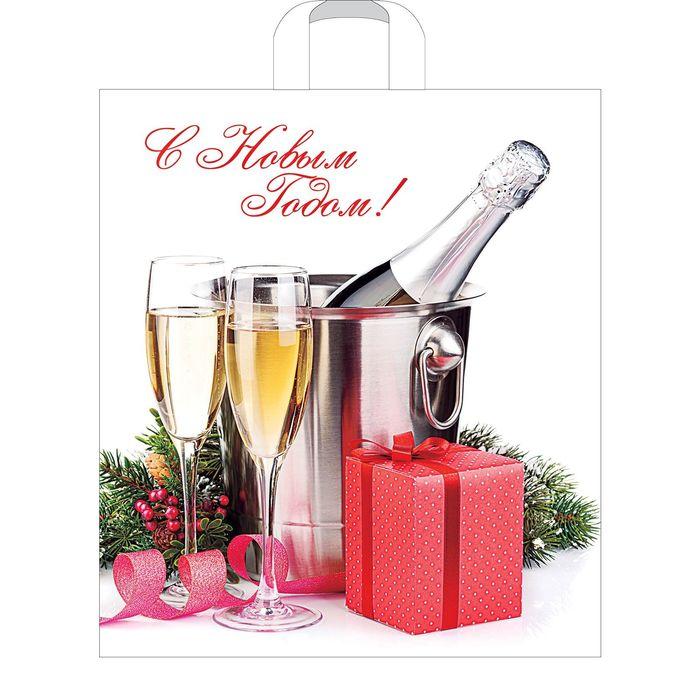 """Пакет """"Розовый подарок"""", полиэтиленовый с петлевой ручкой, 38х45 см, 45 мкм"""