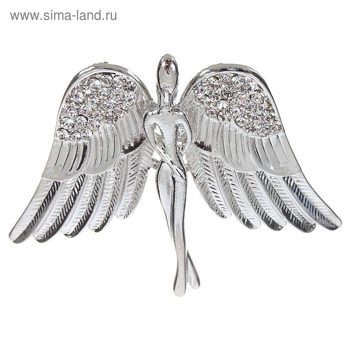 """Брошь """"Ангел"""", цвет белый в серебре"""