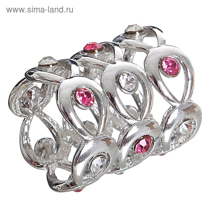 """Муфта для платка """"Ажур"""" капли, цвет розово-белый в серебре"""