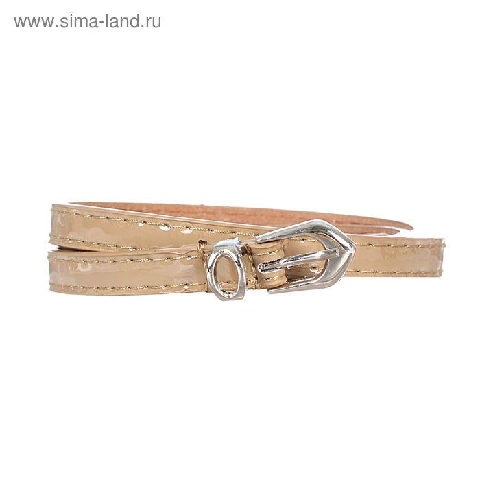 Ремень женский, 2 строчки, гладкий, пряжка - металл, ширина - 1см, серый