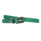 Ремень женский, рябь, пряжка, хомут - металл, ширина - 1см, зелёный