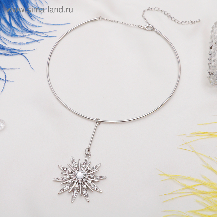 "Кулон на гривне ""Звезда"" цвет белый в серебре, 30см"