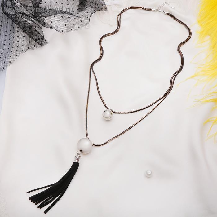 """Кулон """"Кисть"""" шары, цвет чёрный в серебре, 80см"""