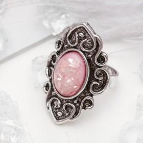 Кольцо 'Натурель' завитки, цвет красный в чернёном серебре, безразмерное Ош