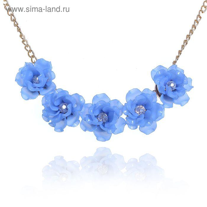 """Колье """"Цветочное настроение"""" чайная роза, цвет синий"""