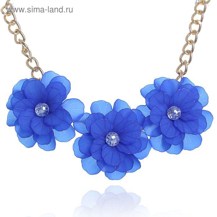 """Колье """"Цветочное настроение"""" георгины, цвет синий"""
