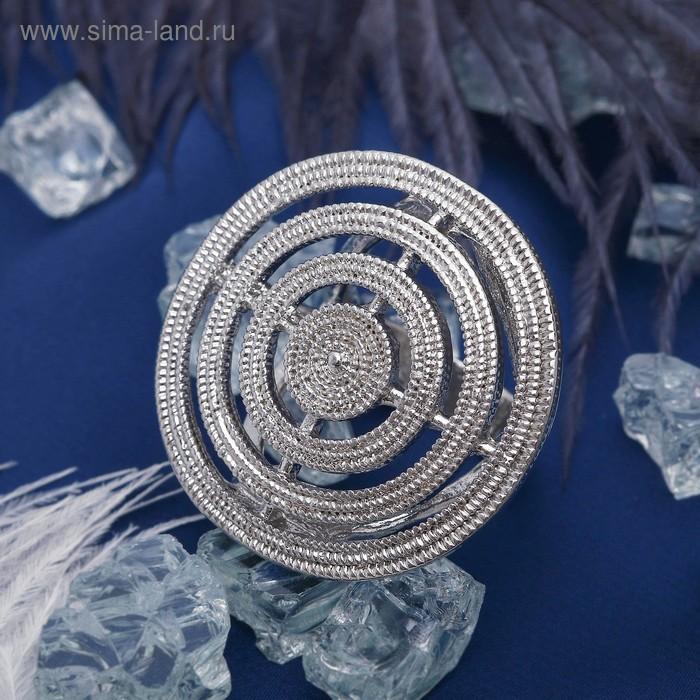 """Кольцо """"Круг"""" пластина рифлёная, цвет серебряный, размер 17,18,19 микс"""