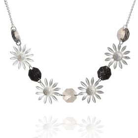 """Колье """"Цветы"""" подсолнухи, цвет чёрно-серебряный"""