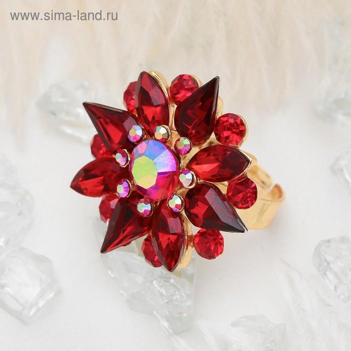 """Кольцо """"Цветок"""" астра остроконечная, цвет красный, безразмерное"""
