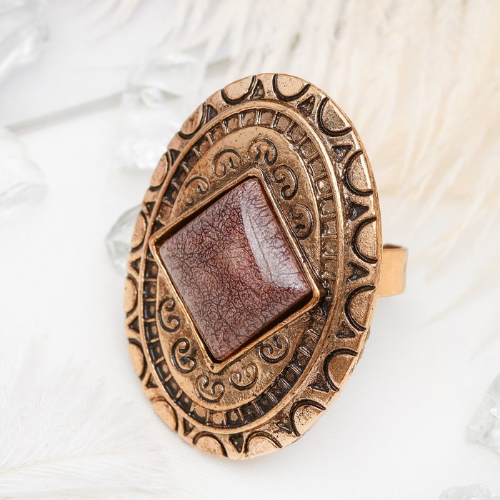 """Кольцо """"Афродита"""" ромб в овале, цвет коричневый в чернёном золоте, безразмерное"""