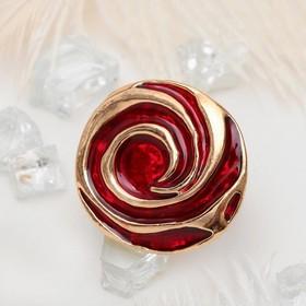 """Кольцо """"Цветок"""" роза, цвет красный в золоте, безразмерное"""