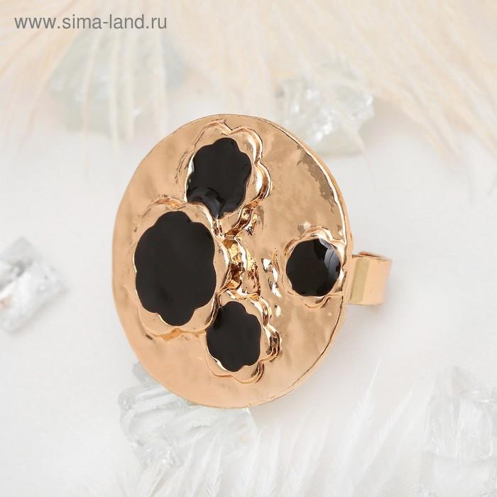 """Кольцо """"Сафари"""" леопард,, круг, цвет чёрный в золоте, безразмерное"""