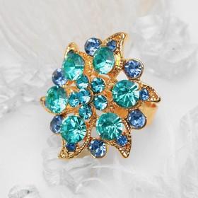 """Кольцо """"Цветок"""" райский, цвет голубой в золоте, безразмерное"""