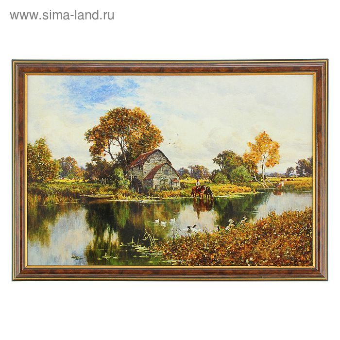 Картина янтарь 30х45 см светлая рама Пейзаж микс