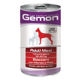Консервы Gemon Dog Maxi  для собак крупных пород, кусочки говядины с рисом, 1250 г