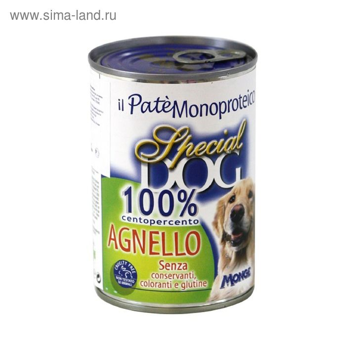 Консервы Special Dog  для собак, паштет из 100% мяса ягненка, 400 г