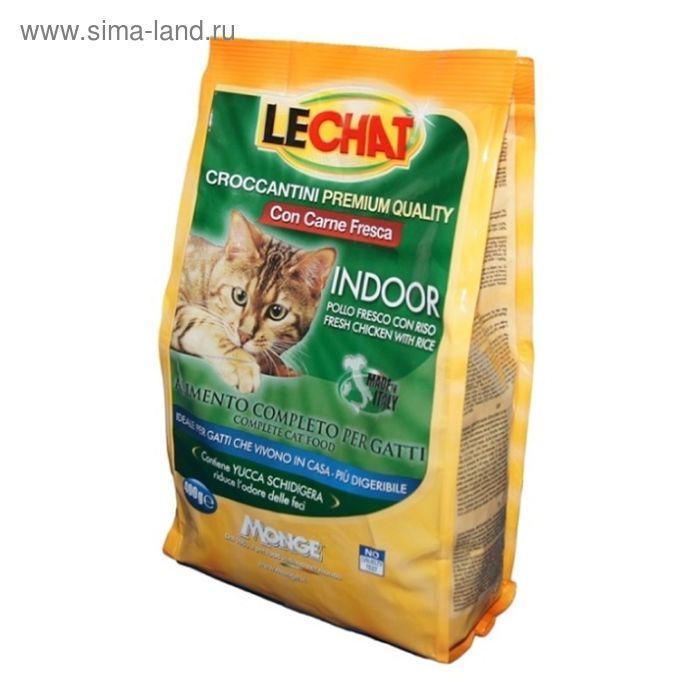 Сухой корм Lechat Cat Indoor  для домашних кошек, со свежей курицей и рисом, 400 г