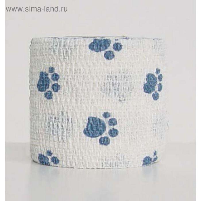 "Бандаж Andover PetFlex ""голубые лапы"" на белом, 5 см х 4,5 м"