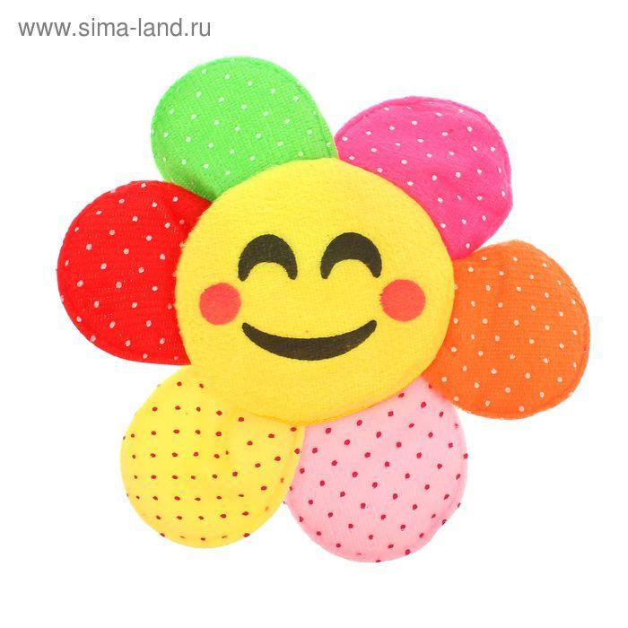 """Мягкая игрушка-магнит """"Цветочек-смайлик"""" в крапинку, цвета МИКС"""