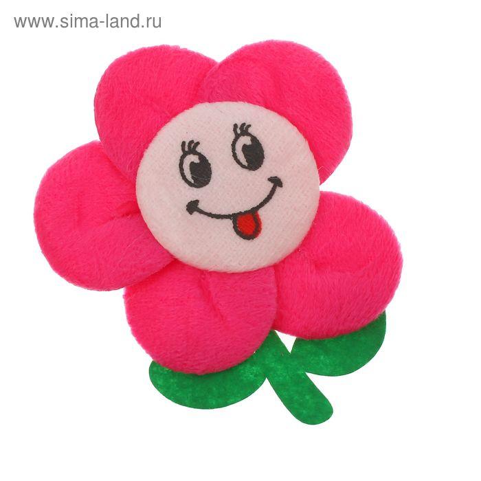 """Мягкая игрушка-магнит """"Цветочек-смайлик"""" со стеблем, цвета МИКС"""