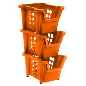 Набор ящиков 37х28х22 см Proxi, 3 шт, штабелируемые, цвет мандарин