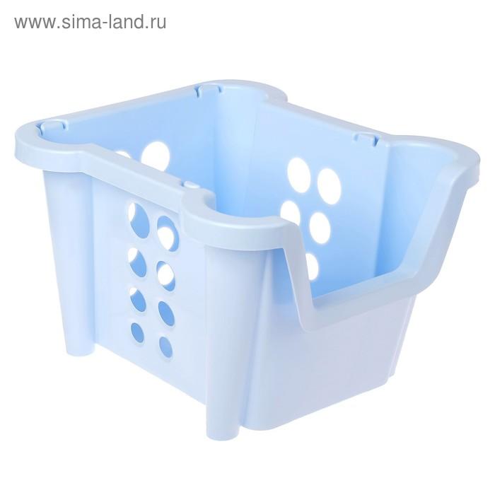 """Ящик 37х28х22 см """"Rio"""" штабелируемый, цвет светло-голубой"""
