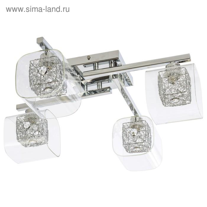 """Люстра еврокаркас """"Забвение"""" 4 лампы 20W G9 основание хром 46х46х20 см"""