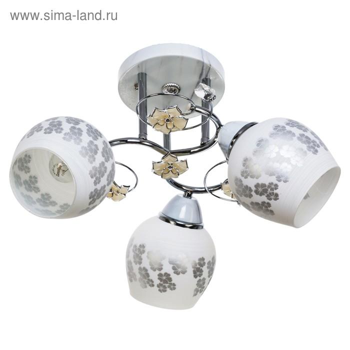 "Люстра ""Кусенто"" 3 лампы 40W E27 основание хром-белый 40х40х28 см"
