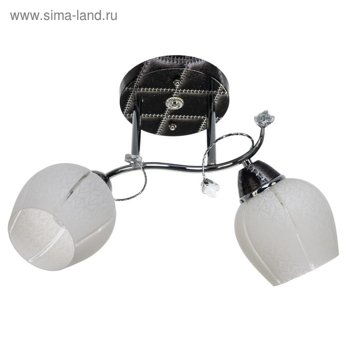 """Люстра """"Зенто"""" 2 лампы 40W E27 основание хром-черный 42х25х28 см"""