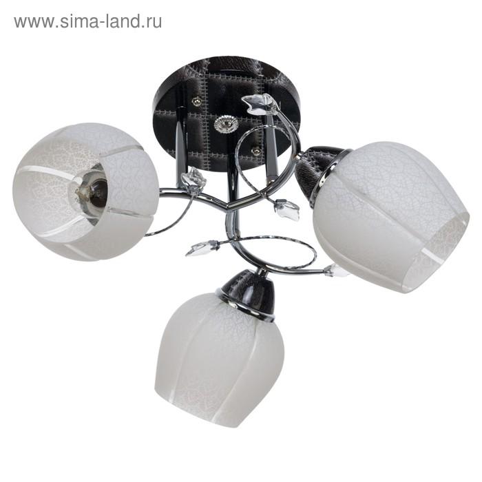 """Люстра """"Зенто"""" 3 лампы 40W E27 основание хром-черный 40х40х28 см"""