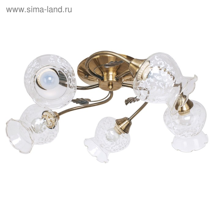 """Люстра классика """"Цветок"""" 5 ламп 60W E27 основание античная бронза 55х55х26 см"""