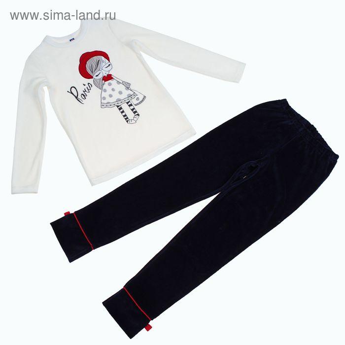 """Костюм для девочки (джемпер, брюки) """"Красная шапочка"""", рост 122-128 см (32), цвет молочный/тёмно-синий (арт. Р648541_Д)"""