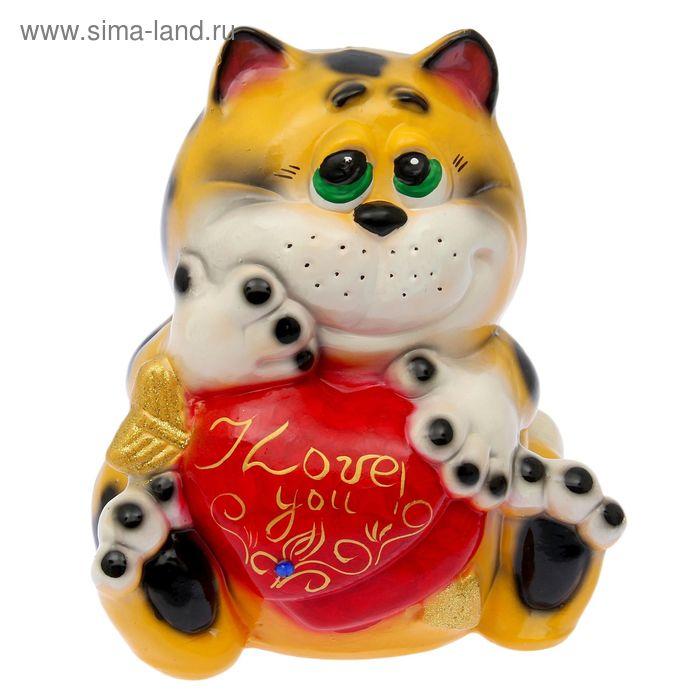 """Копилка """"Кот с сердцем"""" глянец, жёлтый леопард"""