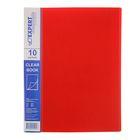 Папка с 10 прозрачными вкладышами А4, 550мкм EC Premier, торцевой карман, текстура ID, красная
