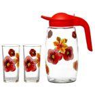 """Набор питьевой """"Полянка"""", 3 предмета: кувшин 1,7 л, два стакана 250 мл, в подарочной упаковке"""