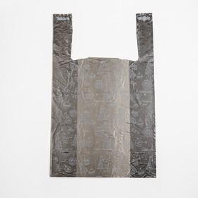 """Пакет """"Золотые снежинки"""", полиэтиленовый майка, 28х50 см, 12 мкм"""